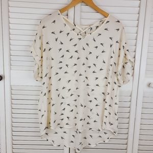 Maurices Cream Black Birdy Blouse Size 0X